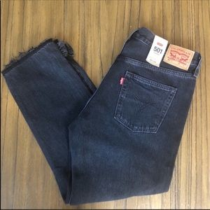 Levi's 501 tapered black high rise cropped jeans